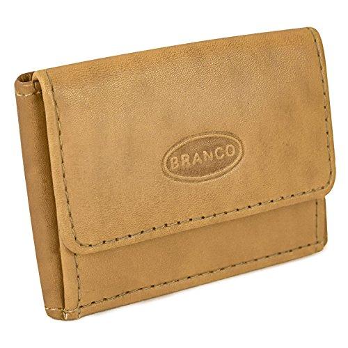 Sehr Kleine Geldbörse/Mini Portemonnaie Größe XS aus Leder, für Damen und Herren, Natur-Beige, Branco 103