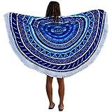 Sannysis toallas de playa con borla 150 x 150 cm, color azul