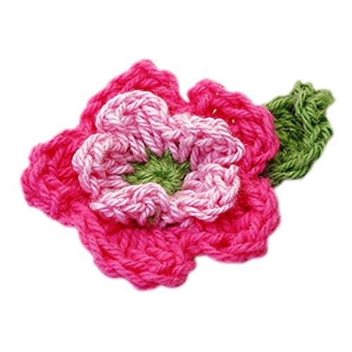 10er 5-Blütenblatt 2-Schicht Handgemachte Häkelblumen Appliques Nähen Handwerk - rosiges Pink und Grün