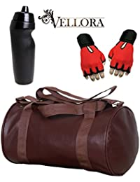 VELLORA Soft Leather Duffel Gym Bag (Brown) With Penguin Sport Sipper, Gym Sipper Water Bottle And Red Color Gloves