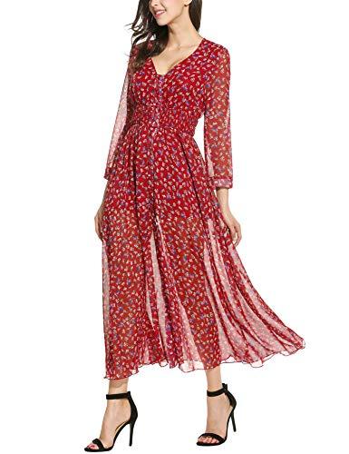 Plunge Damen Strandkleid Maxikleid Langarm Geblümte Chiffonkleid Boho Kleid Sommer Kleider Urlaub Beach (L, Rot) (Formale Rot Langarm Kleid)