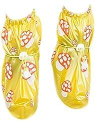 Babysbreath Cubierta antideslizante de los zapatos Cubierta antideslizante de los zapatos de los niños Cubierta antideslizante del zapato del espesamiento amarillo S