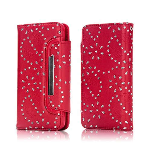 JIALUN-Telefon Fall Magnetische Klappe Gürtelschnalle 2 in 1 Abnehmbare Koffer PU Leder Flip Stand Brieftasche Case Cover für iPhone 7 Plus ( Color : Gold ) Red