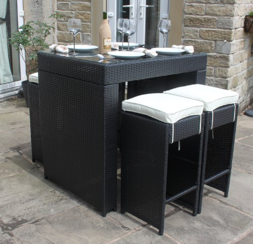 pkl leisure all weather black rattan outdoor garden furniture 5 piece bar set rattan furniture. Black Bedroom Furniture Sets. Home Design Ideas