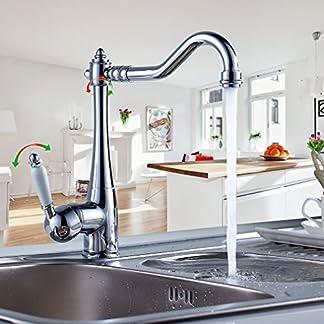 Auralum – Elegante Grifo Cocina para Fregadero con Aireador Latón Cromado Caliente y fría de agua