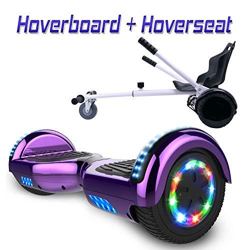 """Hoverboard 6,5\"""" con Asiento Kart Patinete Eléctrico, con Altavoz Bluetooth y LED, Autoequilibrio de Scooter Eléctrico"""