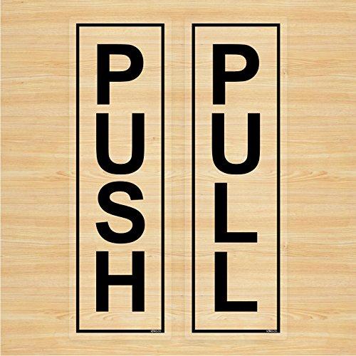Push Y Pull Etiquetas Engomadas De La Puerta (Claro Vinilo)