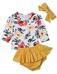148730c6ae34 Newborn Baby Girl Fall Outfits Floral Long Sleeve T Shirt Top+Ruffle  Shorts+Headband