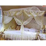 3Doors Palace Foldable Mosquito Net for Double bed ,Size (205*205*205 cm), Beige