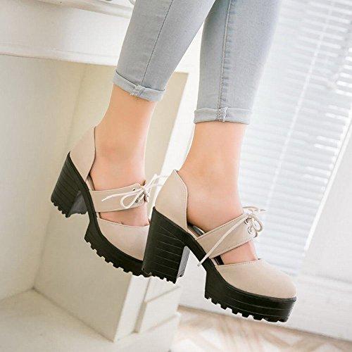 Mee Shoes Damen chunky heels runde Knöchelriemchen Pumps Beige