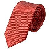 Krawatte 8cm Breite gestreift | Hell-rote Rips Herrenkrawatte zum Sakko | Schlips Binder einfarbig Rot mit feinen Streifen
