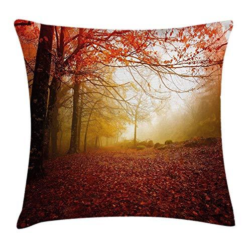 shizh PillowcaseVerzauberter Autumn Forest in nebeligem mit verblaßtem Shady Leaves Misty Fall Scenery Kissenbezug Kissenhülle 45x45 cm Super weich Sofakissen für Wohnzimmer Sofa Bed Misty Leaf