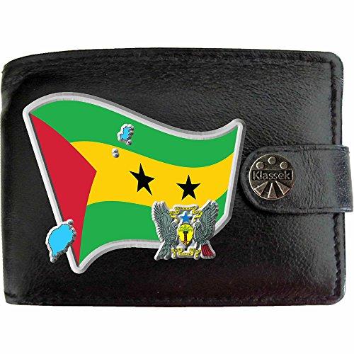 Sao Tome und Príncipe Flagge KLASSEK Herren Geldbörse Portemonnaie Brieftasche Sao Tome und Príncipe Wappen aus echtem Leder schwarz Sao Tome e Principe Geschenk Präsent Mit Metallbox (Sao Geldbörse)