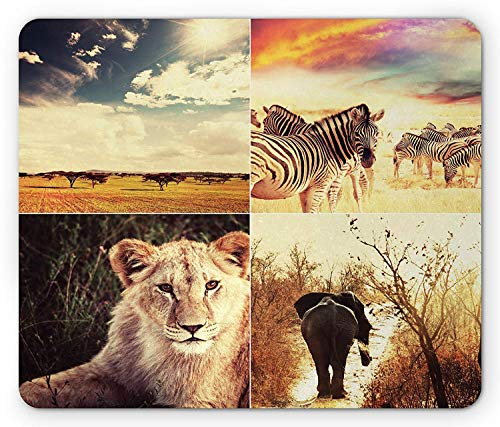 Safari Mouse Pad, Wild Life African Safari Collage with Zebra Elephant Tiger Savanna Animals Adventure Gaming Mousepad Office Mouse Mat Multicolor Safari Gold Zebra