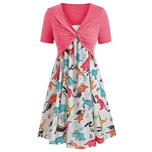 LILIHOT Damenmode Kurzarm Vorne Criss Cross Top + Blumendruck Minikleid Anzüge Damen Kleid Kurz Sommer Elegant Langarm O Ausschnitt Baumwolle Spitze Mini Kleid Knielangkleid Dress -