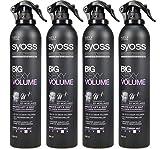 Syoss Stylist Solutions Big Sexy Volume - Lot de 4 flacons de laque pour cheveux en spray - Pour fixer  les cheveux et leur donner du volume - 300 ml chacun