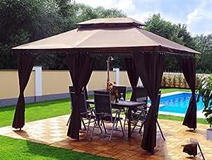garten pavillon 3x4m groten luxus hochwertiges wasserdicht polyester gartenzelt mit. Black Bedroom Furniture Sets. Home Design Ideas