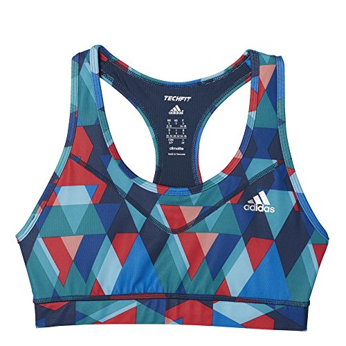 adidas Damen Sport-bh Techfit Printed Grün/Rot, XS -