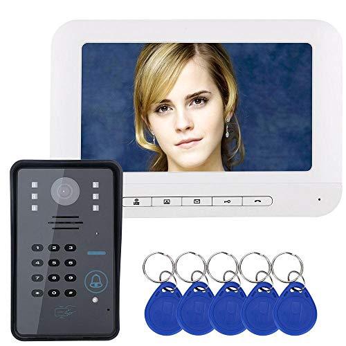Videocitofono Campanello Fili Citofono Campanello Night Vision Antipioggia 7 pollici Colore Password Dispositivo di controllo accessi Sistema di sicurezza domestica Serrature intelligenti(EU)