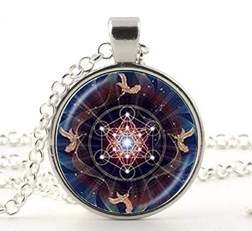 Collar con colgante de cubo de metatrón, joyería de geometría sagrada con flor de la vida, collar espiritual de Chakra, collar mágico de Hexagram