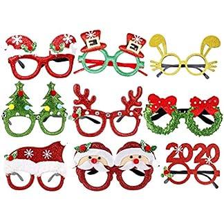 Amosfun 9 Piezas de plástico Conjunto de Gafas de Navidad de Dibujos Animados Gafas de Navidad Glitter Eyeglass Frame Accesorios de Foto para Fiesta de Navidad Cosplay