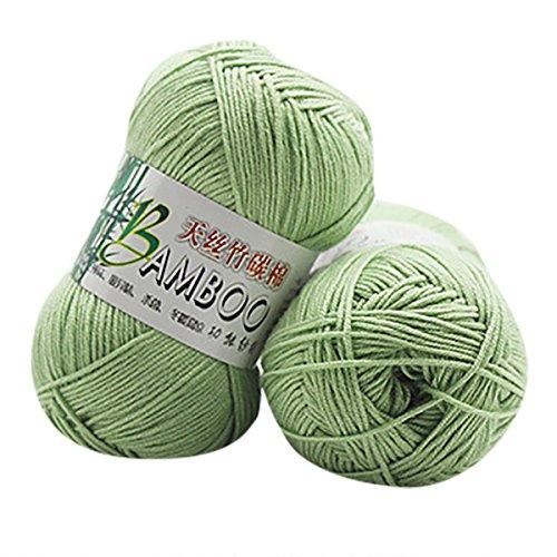 Bambus Baumwolle warm weich Natur stricken häkeln Strickwolle Garn 50g (D) (Klobige Baumwoll-pullover)