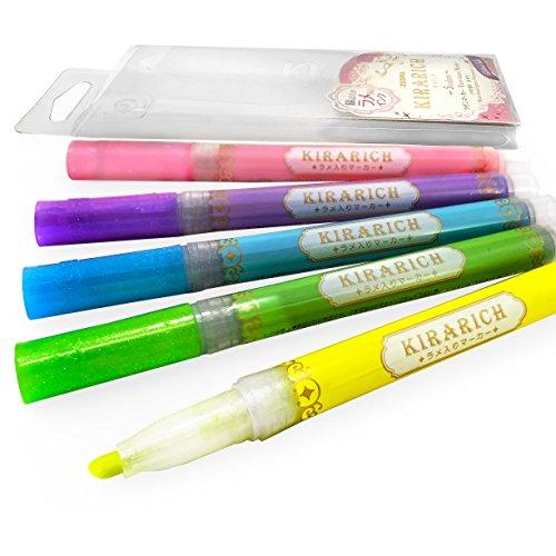 Zebra–Kirarich glitter Ink Highlighters–Portafoglio di 5–blu, verde, rosa, viola e giallo