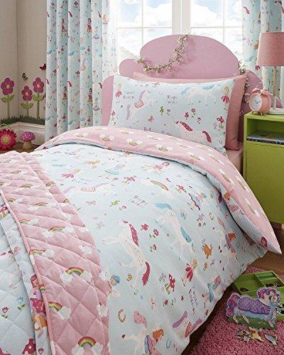 Kidz Club Bettwäsche-Set, Magische-Einhörner-Design, für Kinder-Einzelbett, Bettbezug und Kissenbezug, Blau