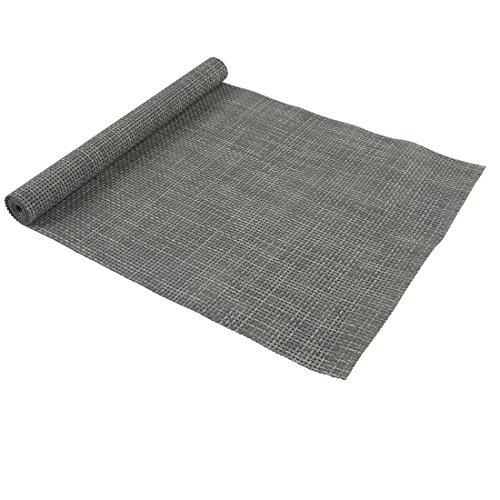 Levivo Tischläufer aus pflegeleichtem Kunststoff-Geflecht, 38 x 140 cm, grau