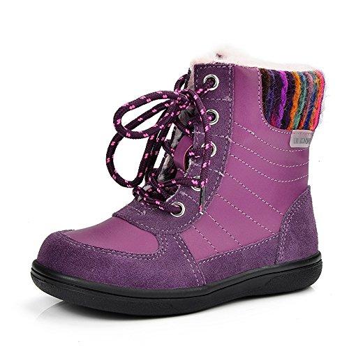 Sunny & Baby Mädchen Winter-Stiefel Schnee Kinder Warmhalten Schuhe Plüsch Echt Leder Süßigkeiten Farbe Kid 's Stiefelette Scheuerbeständig–, violett, 27 EU (Echtes Stiefel Schnee Leder)