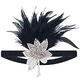 LONGBLE 1920s Feder Stirnband Retro 20er Jahre Haarband Flapper Stirnband Damen Kostüm Accessoires Plume Retro Haarschmuck Kopfschmuck für Damen Braut Karneval Kostüm Party Tanzabend