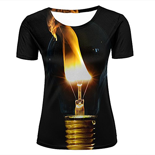 Womens Casual Design 3D Printed Light Fire Light Bulbs Black Background Graphic Short Sleeve Couple T-Shirts Top Tee M (Kitty-peeling)