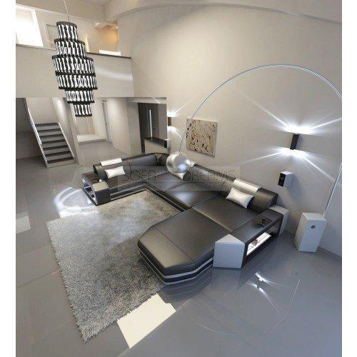 Intérieur de la maison Presto forme U Noir - Blanc Cuir Canapé d'angle avec éclairage