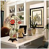 AXIANQI Lámpara De Mesa Estilo Tiffany Base De Aleación De Zinc De Vidrio, Lado De La Cama Rosa Roja Lámpara De Mesa Lámpara De Mesa De Vidrio De Color Estilo Europeo 16 Pulgadas