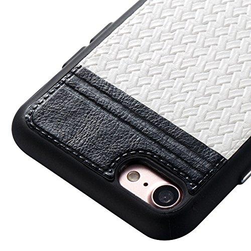 Apple iPhone 7 4.7 hülle, Voguecase Schutzhülle / Case / Cover / Hülle / TPU+PU Gel Skin Mit Knopf (Weben Muster/Saphir und Braun) + Gratis Universal Eingabestift Weben Muster/Schwarz und Weiß