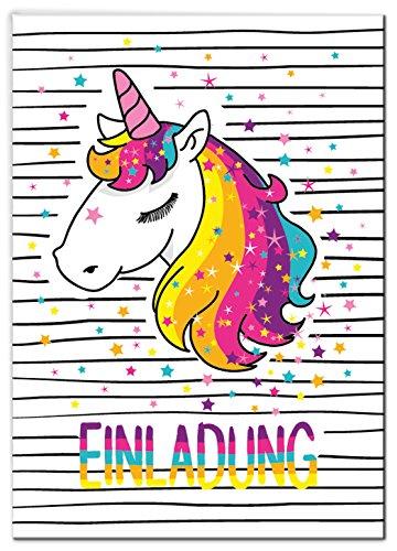 ladungskarten Einhorn Kindergeburtstag Mädchen Unicorn Regenbogen Geburtstagseinladungen Einladungen Kartenset ()