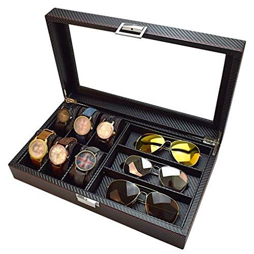SuRose 6 Slot Watch Box und 3 Slot Brillen Lagerung Carbon Fiber Combo Schmuck Fall und Sonnenbrille Brillenvitrine für Männer/Frauen