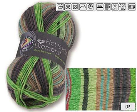 Doppelpack 2 x 50 gr. Gründl Hot Socks Diamond Farbe 03 Sockenwolle mit Merino / Merinowolle -