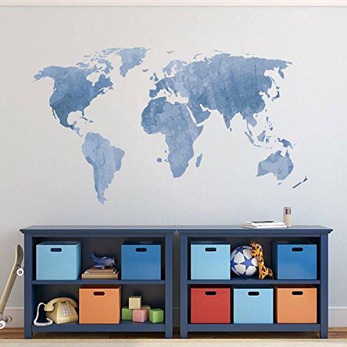 Vinilo grande de pared con mapa del mundo azul