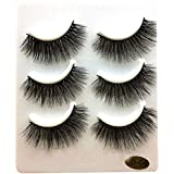 Voberry 3 Pairs Long False Eyelashes Natural Makeup Fake Thick Black Eye Lashes