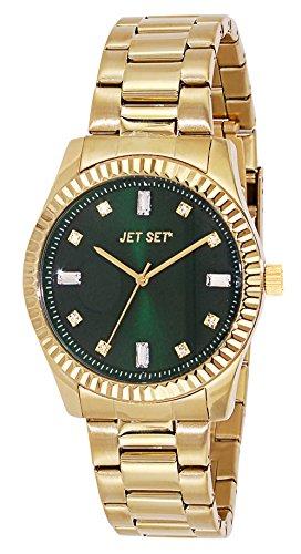 J-Jet Set 59778-432 Cool Women's Quartz Analogue Watch-Steel Strap Green Dial Gold