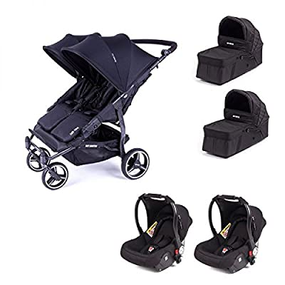 Cochecito doble Baby Monsters Easy Twin 3S – Chassis negro + 2 nacelles + 2 asiento de coche luna negro 2018