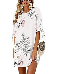 9e351fbebaff7 BienBien Donna Vestito da Giorno Eleganti Estivi Corti Abito Manica 3 4  Camicia Vestiti Sottile Rotondo Collo Colori…