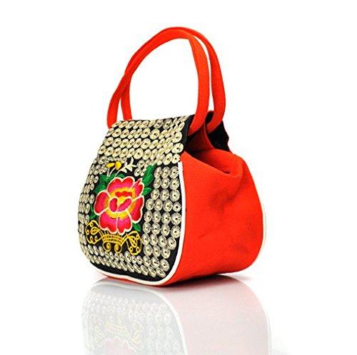 Girls Cloth borse ricamo fiori–Memorecool cinque colori disponibili Good quality sano per estate out Blue Orange