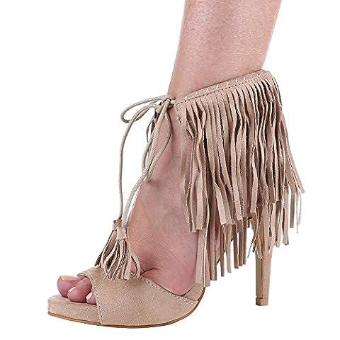 Damen Schuhe, 99-140, SANDALETTEN, HIGH HEELS PUMPS MIT FRANSEN, Synthetik in hochwertiger Wildlederoptik , Beige, Gr