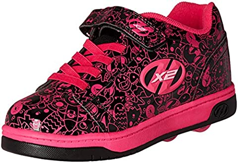 Heelys Girls' X2 Dual up Sneakers, Black (Black / Hot Pink / Graphic), 12 UK