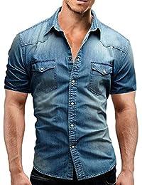 Ursing Herren Kurzarm Hemden Slim Fit Jeanshemd mit Tasche Freizeithemd  Arbeitshemd Cowboy-Style Denim Shirt Sommerhemd… bfe6cfc160