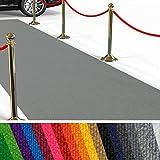 etm Hochwertiger Messeteppich Meterware | Rollteppich VIP Eventteppich, Hollywood Läufer, Hochzeitsteppich | 18 Farben in 23 Größen | Grau - 200x300 cm