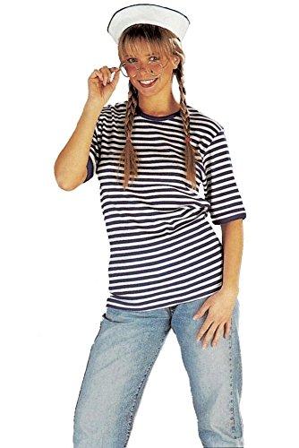Ringel-Shirt mit kurzem Arm in blau-weiß | Größe S | Matrosen T-Shirt ( gewirkte Ware )