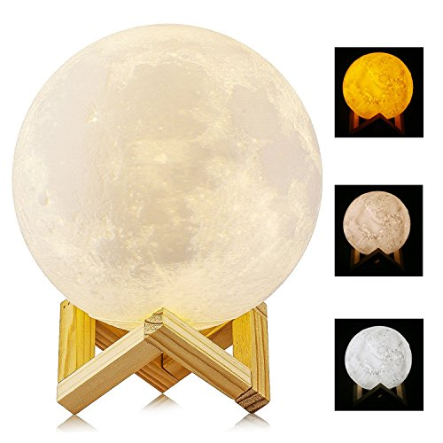 Größer! 15cm Mond Lampe Nachtlampe 3D Mond Lampe Mondlicht ALED LIGHT 5.9 Zoll Durchmesser Mond Nachtlicht Lampe 3 Farbe Wählbar Schlafzimmer Dekor USB Lade Stimmung Licht für Schlafzimmer Cafe Bar Esszimmer Tippen Sie Auf Licht